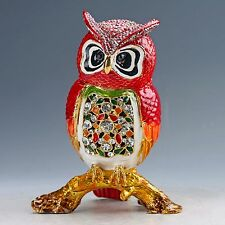 Chinese Collectable Cloisonne Inlaid Rhinestone Handwork Owl Statue D1436