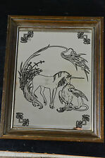 "VINTAGE UNICORN GRIFFEN WOODEN FRAMED ART NOUVEAU STYLE WALL MIRROR 11"" X 14"""