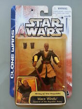 Star Wars 2003 CLONE WARS MACE WINDU Jedi Master Republic Army General Gauntlet