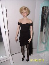 "FRANKLIN MINT 16""Vinyl PRINCESS DIANA Doll in Black Divorce Dress Ensemble"