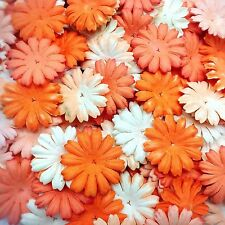 100 Mixed Orange Tone & White Daisy Flowers mulberry paper for Craft & D.I.Y