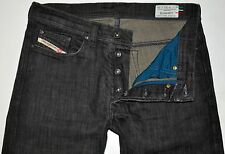 "Diesel Men's Straight Leg Black ""Dirty"" Jeans Wash 008DK 30 X 27 3/4 Stretch EUC"