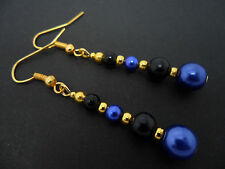 A PAIR OF DANGLY BLUE & BLACK GLASS PEARL  GOLD PLATED EARRINGS.