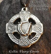 Celtic Harp Cross - Pewter Pendant - Music, Renaissance, Jewelry