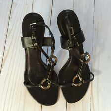 PRADA Black Strap Short Kitten Heels Sandals Shoes Size 6