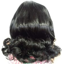 """Sabrina  Wig 12-13"""" Off-Black SYNTHETIC MOHAIR, soft, Full Cap"""