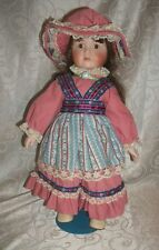 "Gorgeous 15.5""T Brunette in Pink Dress Porcelain Doll w/Stand"