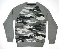 NEW MENS RETRO FIT ICE HEATHER GRAY CAMO CAMOUFLAGE CREWNECK SWEATER SIZE LARGE