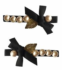 AL0100- Eye catching black bow with gold leave and pearls sequin hair slids/2 pi