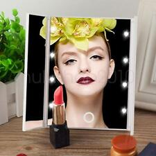 Foldable LED Light Make Up Mirror Cosmetic Tabletop Beauty Vanity Mirror 8 LED