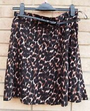 PAPAYA BROWN BLACK LEOPARD ANIMAL BELTED SKATER A LINE FLIPPY FULL SKIRT 12 M