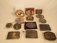 Vintage Belt Buckle Collection NRA BPOE Elks Lodge Hunting Etc 14 Buckles