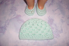 Light Green Hand Crochet Beanie Hat And Crochet Shoes For The American Girl Doll