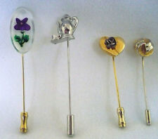 Lot 4 stickpins gold heart with silver rose,round gold swirl, violet & teapot