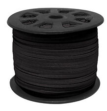 Black 90M 3mm x 1.5mm Faux Suede Korean Velvet Leather Cord String Rope Thread