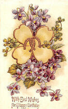 WITH BEST WISHES~HAPPY BIRTHDAY GREETING GILT EMOBSSED POSTCARD 1910s HORSESHOES