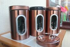 SET OF 3 CONTEMPORARY COPPER TEA COFFEE SUGAR JARS TINS  KITCHEN STORAGE JARS