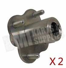 "Set of Two Galvanized Wheel Hubs on 2-13/16"" Circle 1"" Rear Bore Go Kart Parts"