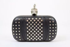 Alexander McQueen Leather Silver Tone Studded Skull Detail Box Clutch