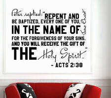 Wall Decal Bible Verses Psalms Acts 2:38 Peter Replied Vinyl Sticker DA3631