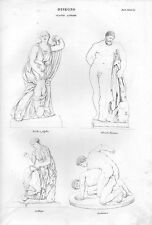 Stampa antica STATUE Niobe Ercole Farnese Lotta studi di disegno 1848 Old print