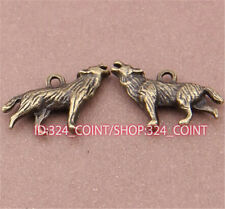 P487 10pcs Antique Bronze Wolf Pendant Bead Charms Accessories wholesale
