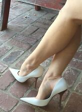 *wHiTe LeATheR* Pointy Toe Sz 7.5 CARRIE Stilettos Heels PUMP GuESS Wedding