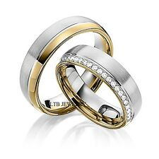 MENS WOMENS 14K TWO TONE GOLD MATCHING WEDDING BANDS SET,HIS & HERS RINGS