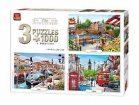 3 in 1 Triple Pack 1000 Piece City Collection Jigsaw Puzzles & Posters 05205