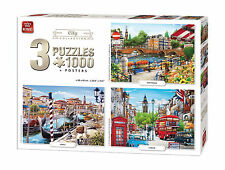 3 in 1 set 1000 Piece Jigsaw Puzzles City Collection Amsterdam Venice London