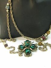 RARE POURED GLASS 1950 green maltese CROSS PIN PENDANT NEECKLACE SIGNED