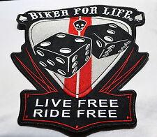Biker For Life, Patch,XL,Rückenaufnäher,Badge,Chopper,Biker,Kutte,Aufbügler