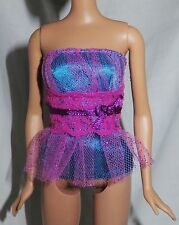 * TOP ~ MATTEL BARBIE DOLL BLUE PINK TULLE TUBE TOP SHIRT ACCESSORY CLOTHING