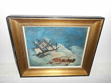 .Old oil painting, { Sailboat in the storm, people in the sea, is signed }.
