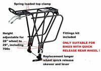 Rear Disc Brake Compatible Alloy Cycle Rack, For Quick Release Wheels Only !!