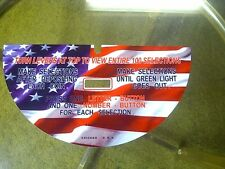 SEEBURG JUKEBOX WALLBOX 3W1  MEDAL INSTRUCTION PLATE AMERICAN FLAG FINISH