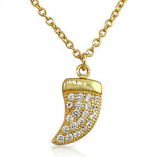 Sterling Silver Gold White Crystals CZ Womens Italian Horn Pendant Necklace