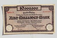 18736 Geldschein Stadt Dresden 10 Millionen Mark paper Money Infla 12. 9. 1923