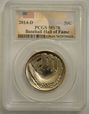 2014 D Baseball Hall of Fame Pcgs Ms70 First Strike 50c Half Dollar W/ Ogp