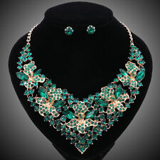 Fashion Green Crystal Jewelry Sets For Women Bridal Wedding Necklace Earring Set