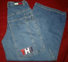 Men's Vintage Tommy Hilfiger Wide Leg Jeans Hip Hop Baggy Embroidered Size 32×32