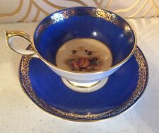 Beautiful Aynsley Cup & Saucer With Fruit Design- Unusual!