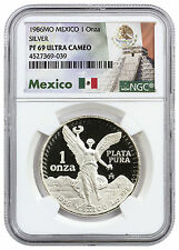 1986 Mexico 1 oz. PF Silver Libertad Onza NGC PF69 UC (Exclusive Label) SKU42326