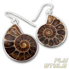 925 plata fossil amonita ohrhänger naturaleza joyas de mano de espiral aretes
