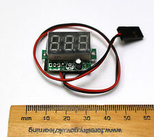 On-board RC LED Voltage Meter / Checker / Tester connects to RX via JR 3v to 30v