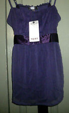 Women NEW 10 Stunning Temt Dark Purple Light Net Satin Tie Elastic Back Cami Top