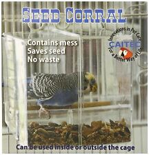 SEED CORRAL No Bird Seed Mess Tidy Cage Feeder Budgies Canary Cockatiel Finch