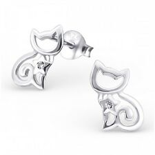 Sterling  Silver Cat Ear Studs with Cubic Zirconia stud earrings