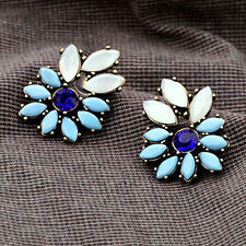 Flower Rhinestone Alloy Statement Ear Stud Earrings Cocktail Party Jewelry