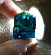 80 Ct.~ Bi Color Gem Indicolite Green Blue Tourmaline Crystal ~ Afghanistan